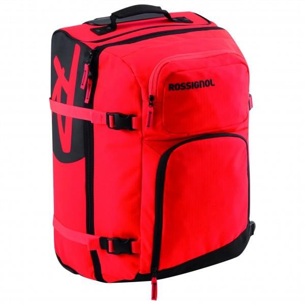 Rossignol Hero Cabin BagDesign: Travel bagTravelVolume: 50 litresCarry system: Telescopic handle; Grab HandleAdditional compartments: small front compartmentDimensions: 52 x 32 x 30 cmWeight: 2820 gExtras: Compression straps; RollersRRP £95 - Selling for £84.99