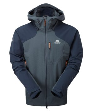 Mountain Equipment Men's Frontier Hooded Softshell Jacket (Ombre Blue/ Cosmos)