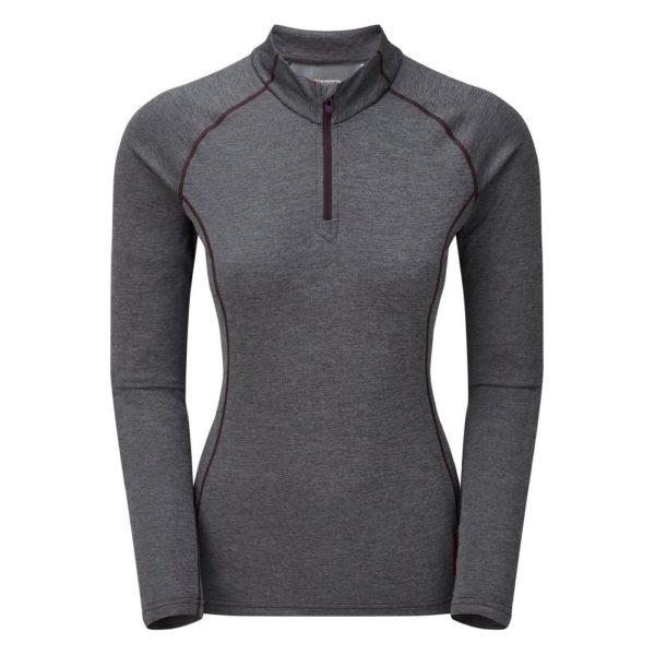 Montane Women's Dart Zip Neck LS Base Layer Top (Nordic Grey)