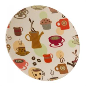 Vango Bamboo Dessert Plate 20cm (Coffee Cup Print)