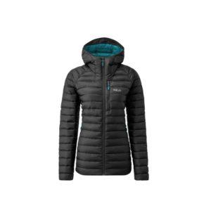 Rab Women's Microlight Alpine Long Recycled Down Jacket (Black)