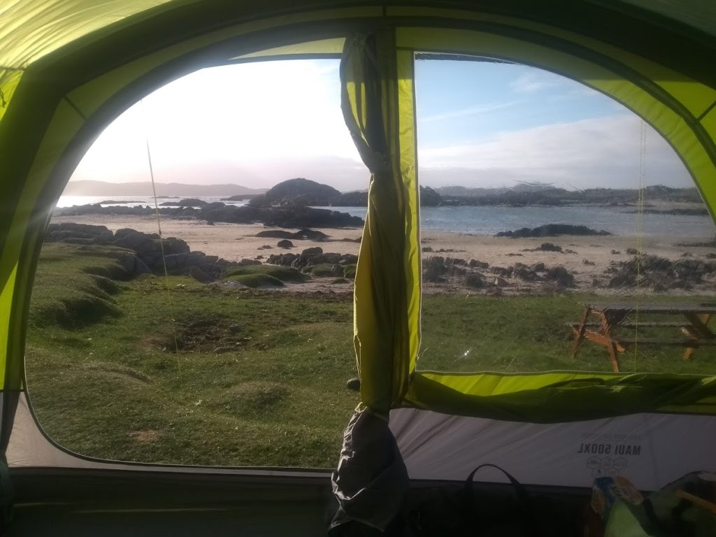 Amazing view from tent over Fidden beach