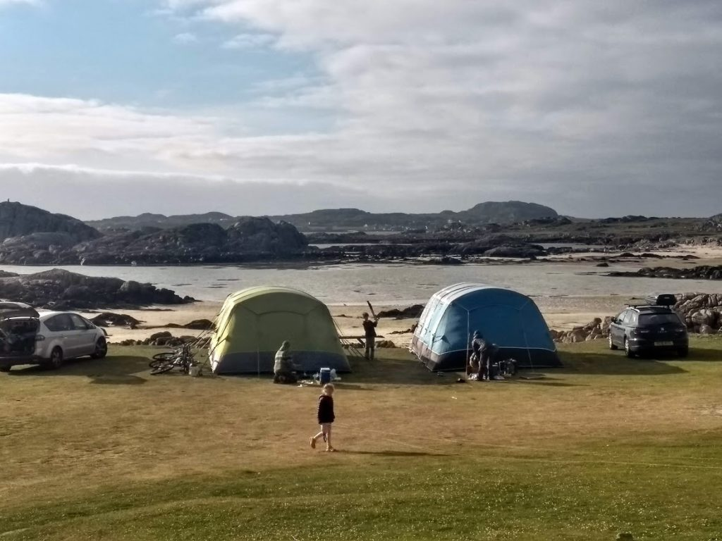 Tents pitched at the beach, Fidden, Mull