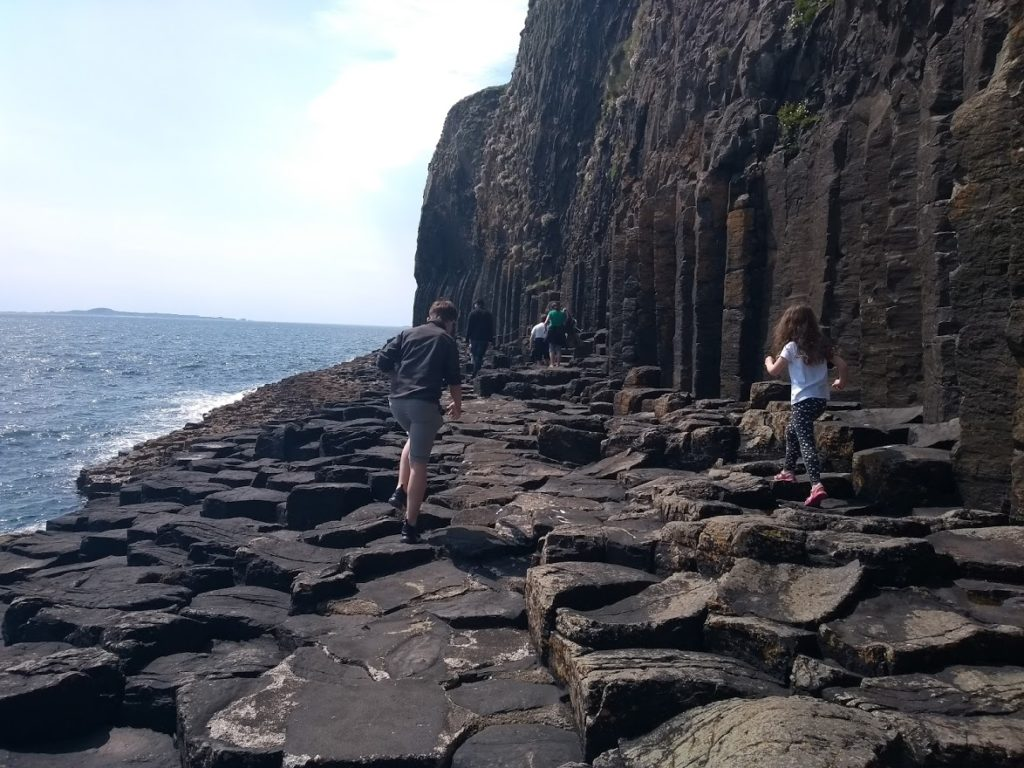The hexagonal stepping stones to fingal's cave, staffa